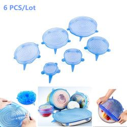 6 pcs Universal Silicone Suction Lid-bowl Cover Pan Cooking Pot Lid-silicon Stretch Lids Spill Lid Stopper Cover kitchen tools