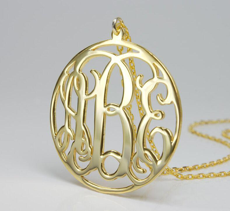 Пользовательские монограмма ожерелье, золото круг кулон ожерелье, уникальный персонализированные монограмма начальная имя ожерелье