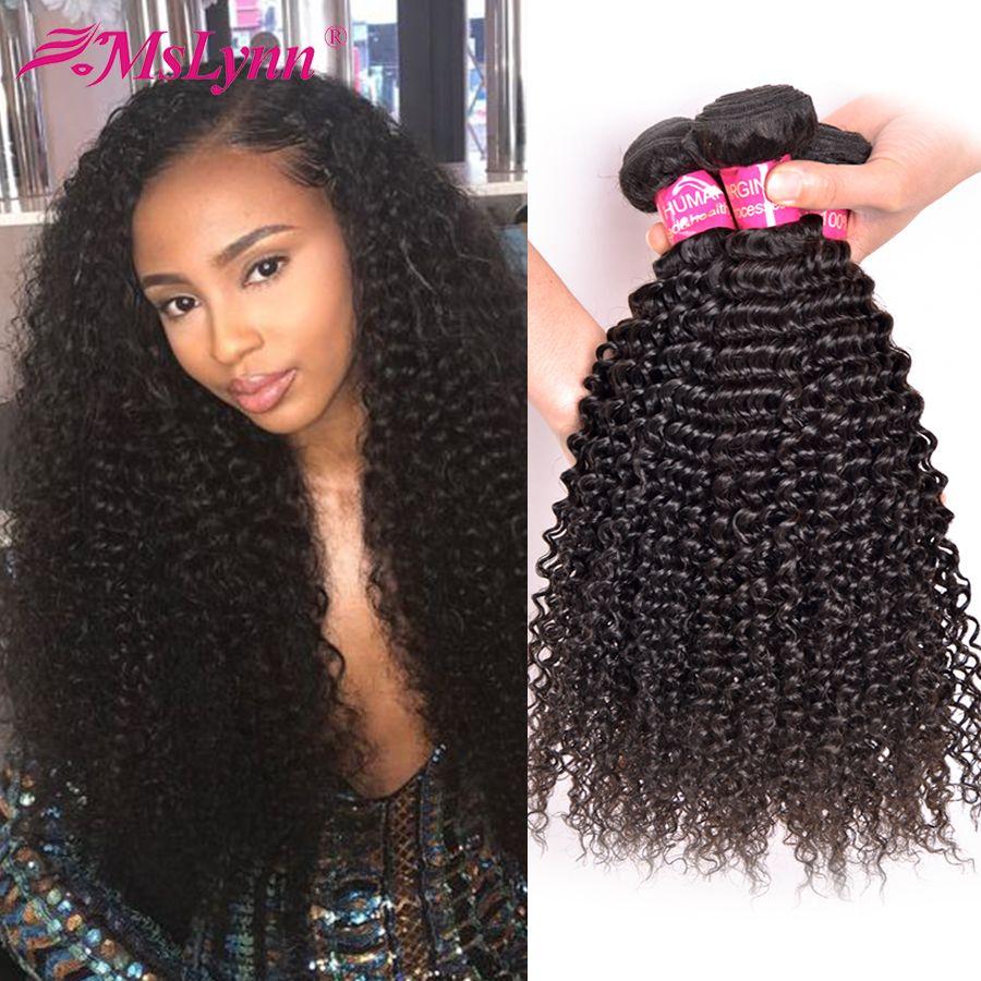 Afro Crépus Bouclés Cheveux Brésiliens Cheveux Weave Bundles Cheveux Humains Weave Bundles 4 ou 3 Bundles Naturel Noir Mslynn Non remy Cheveux