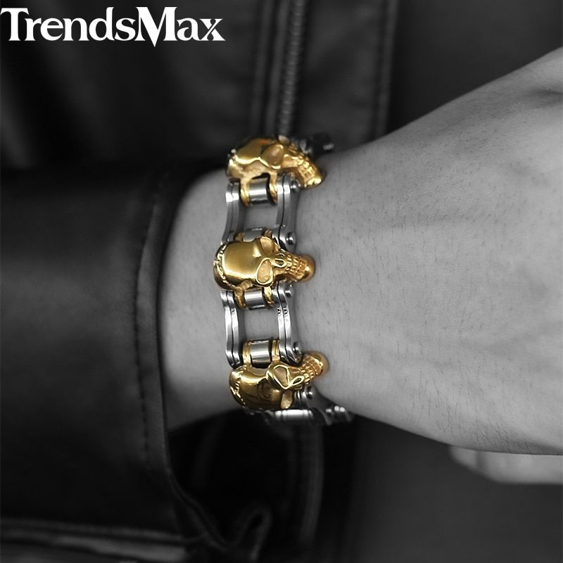 Trendsmax 22cm Men's Skull Bracelet 316L Stainless Steel Bracelet Biker Bicycle Link Male Jewelry Dropshipping Wholesale HBM66