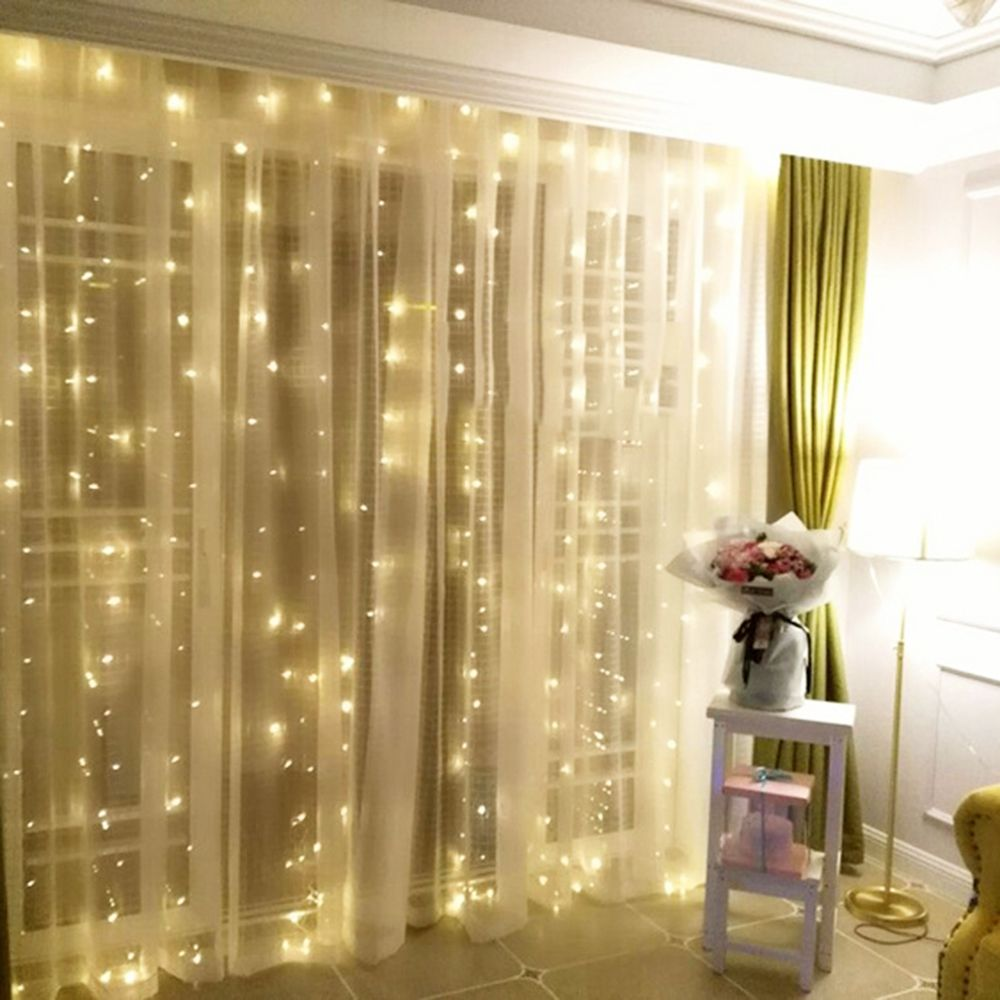 4.5*3 м 300 светодиоды Шторы Гирлянды светодиодные огни новогоднее; рождественское гирлянды Фея Garden Party Свадебные украшения Фея 4 цвета VR