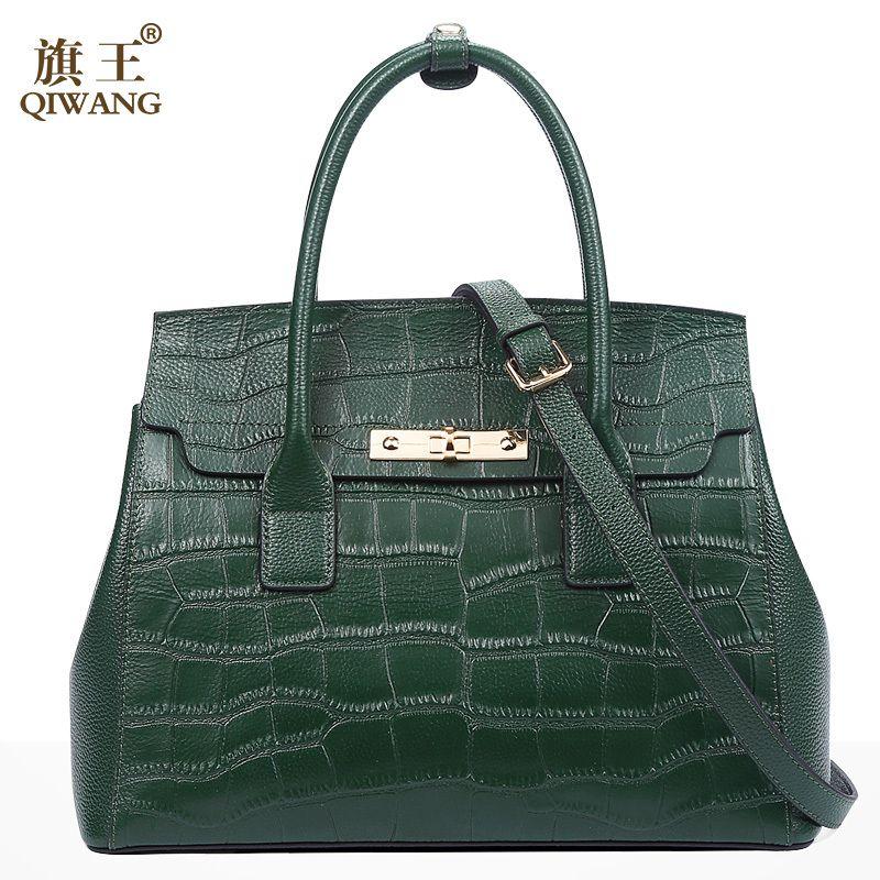 Qiwang Green Handbag Brand Design Women Crocodile Hand Bag Genuine Leather Bags Fashion Brand Tote Bag for Woman 2018