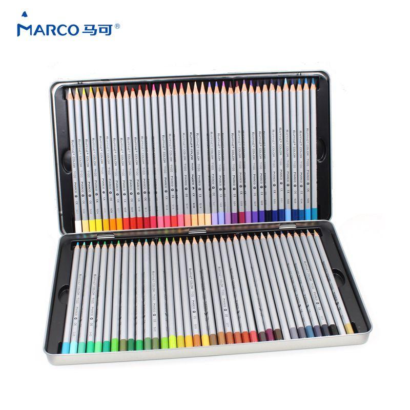 MARCO 7100 Prismacolor crayons de couleur bois 72 huile Carton boîte de fer crayons de dessin professionnel croquis Art pour fournitures scolaires