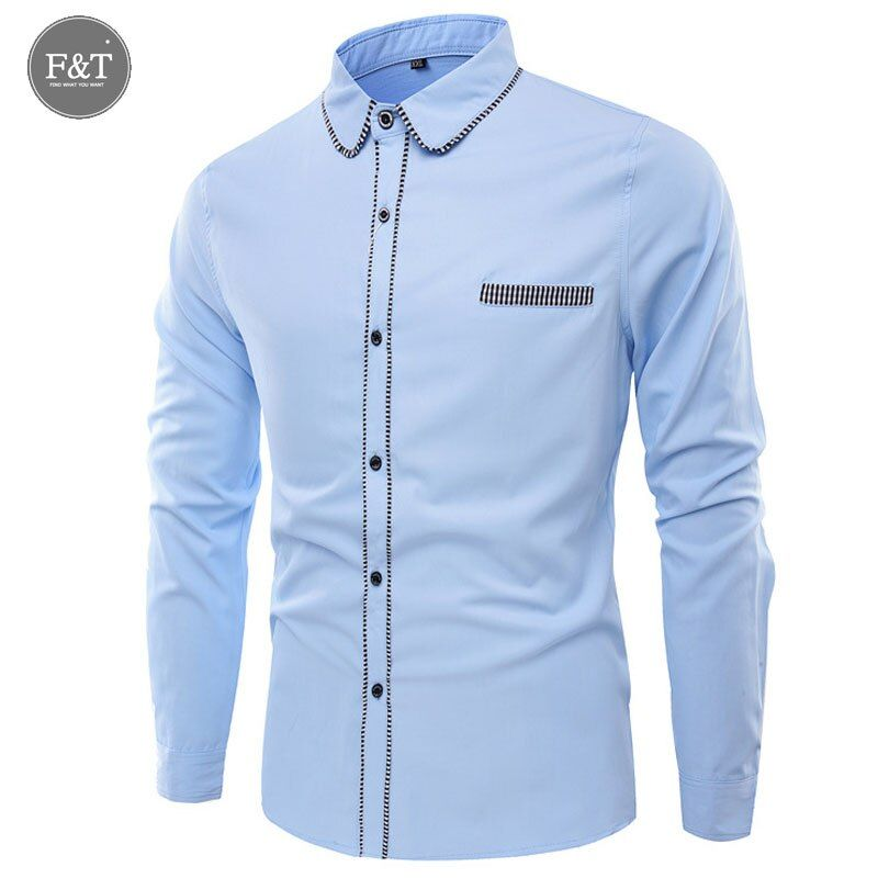 Brand Spring Autumn Men Shirts Solid Color Long Sleeve Casual Men Clothing Camisa Social Masculina slim fit Business Dress 4XL
