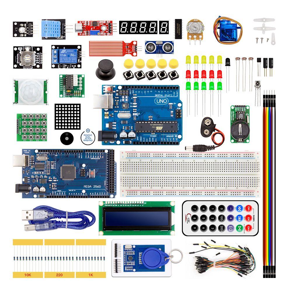 Mega2560 Starter Kit 830 Breadboard RFID Ultrasonic Ranging Relay LCD UNO R3 Kit Free Shipping