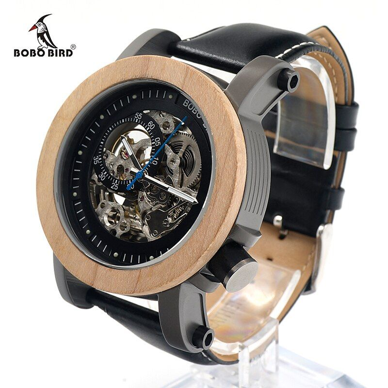 BOBO BIRD New Arrival V-K14 Maple Wooden Bezel Mechanical Watch Hollow Skeleton Automatic Watch with Leather Strap in Gift Box