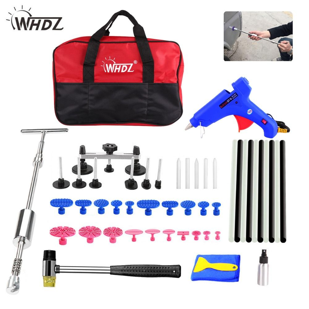 WHDZ PDR tools Car Paintless Dent Removal Repair Tools 2in1Slide Hammer puller bridge glue gun glue sticks Tool Set For Car Dent