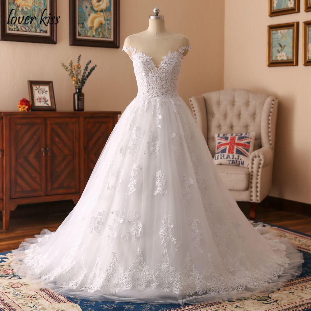 Lover Kiss A-Line Princess Illusion Cap Sleeves Wedding Dresses Appliques Lace Bride Dress Vestido De Noiva Sexy Wedding Gowns