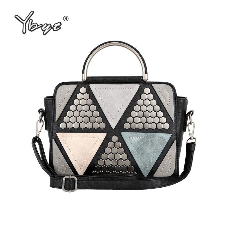 Ybyt бренд 2018 Новый Лоскутная Повседневная заклепки сумки женские сумки торговых кольцо дамы моды плеча Crossbody сумки