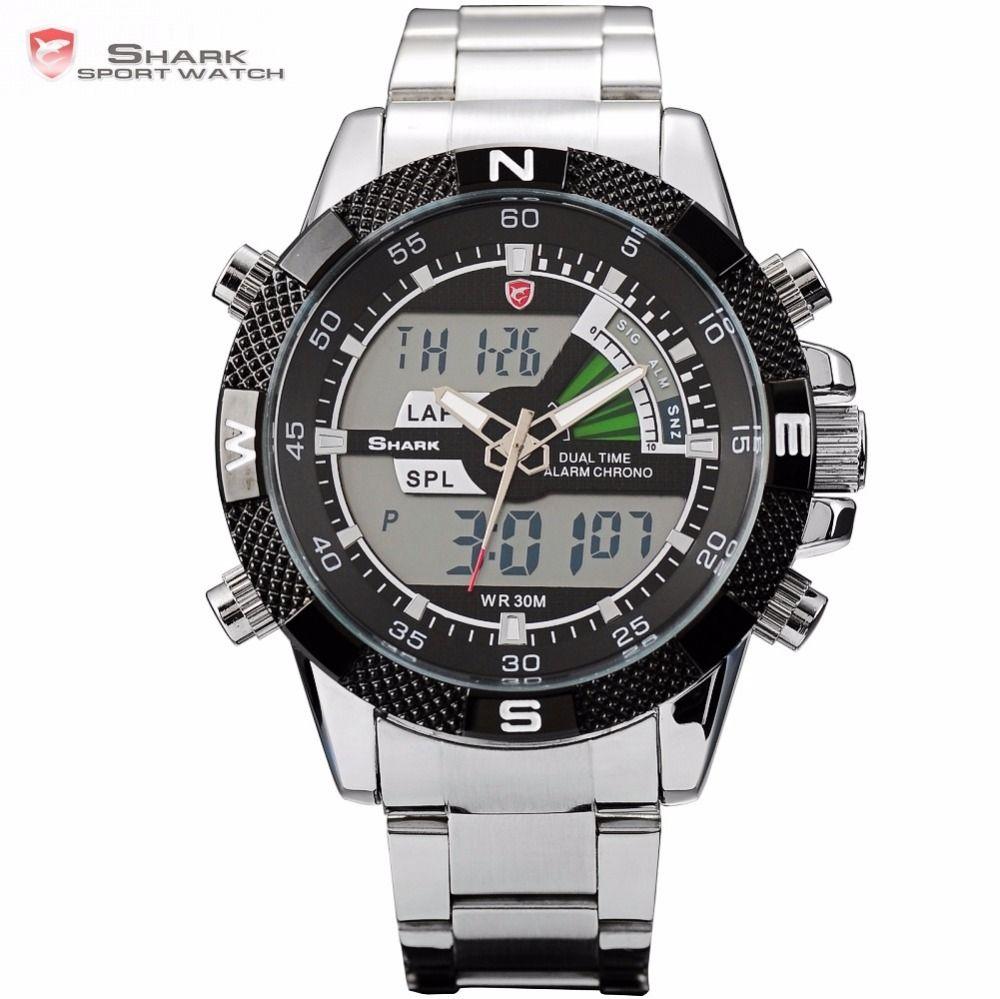 Steel Porbeagle SHARK Sport Watch Luxury Black Digital Male Quartz Fashion LCD Date Stopwatch Relogio Masculino Watches /SH047