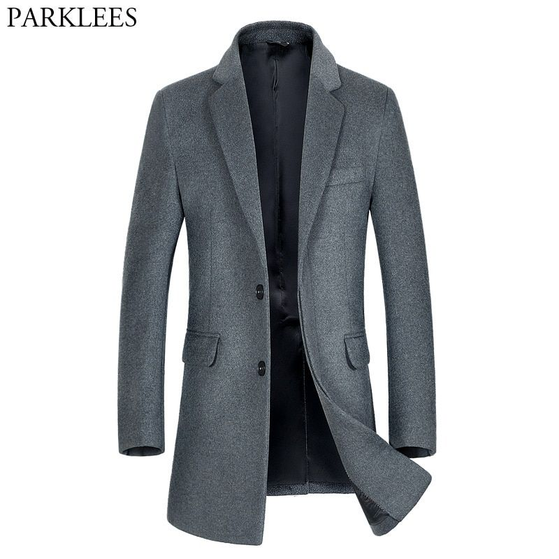 Winter Trench Coat Men 2017 Brand New Men's Long Wool Trench Coat Single Breasted Pea Coat Windbreaker Overcoat Manteau Homme