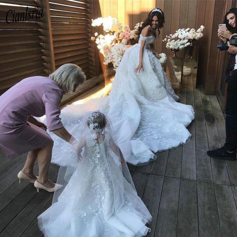 Romantische Blumen Ballkleid Spitze Hochzeit Kleid 2019 Luxus Kathedrale Zug Vestido De Noiva Sexy Kappe Hülse Hochzeit Kleider