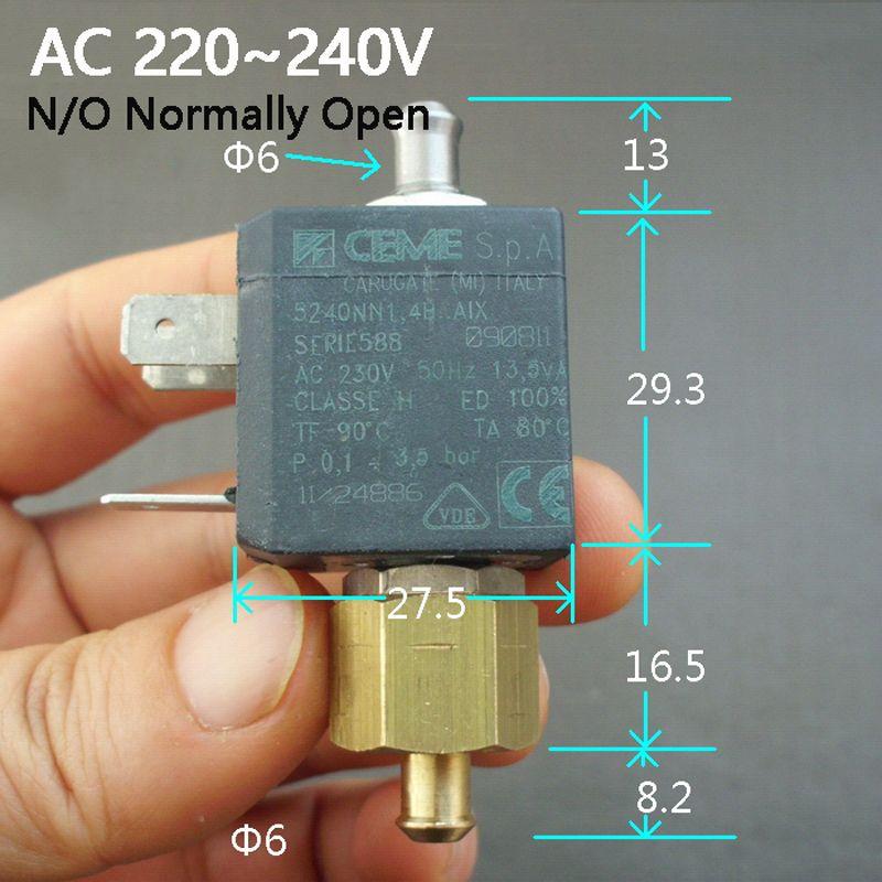 6 мм AC220V AC230V AC240V Кофе машина электромагнитный клапан coil Электрический электромагнитный клапан нормально открытый N/O переключатель воды на в...