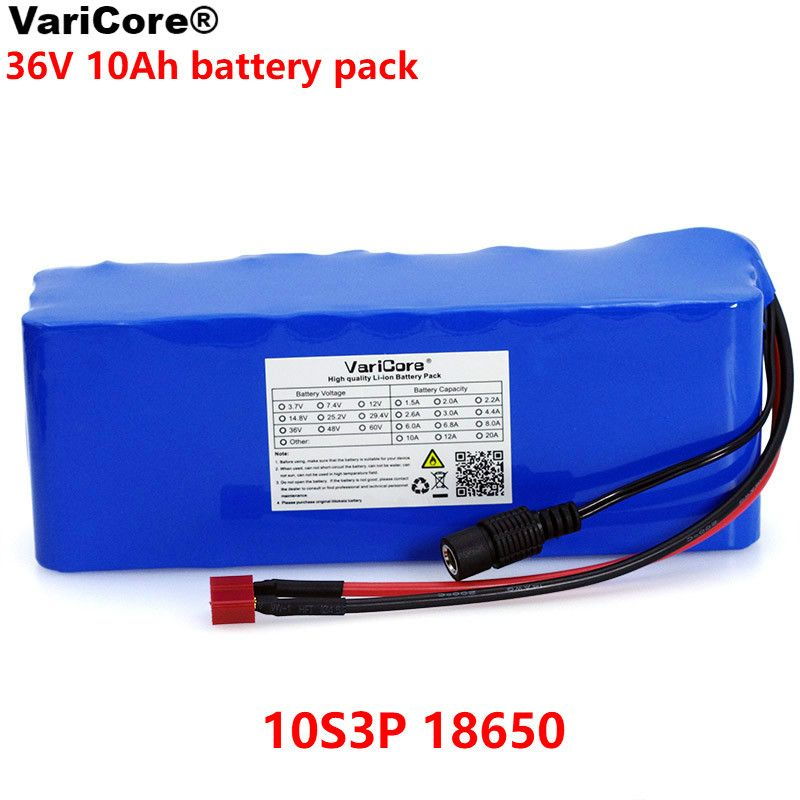 VariCore 36V 10000mAh 500W High Power and Capacity 42V 18650 Lithium Battery Motorcycle Electric Car Bicycle Scooter with BMS