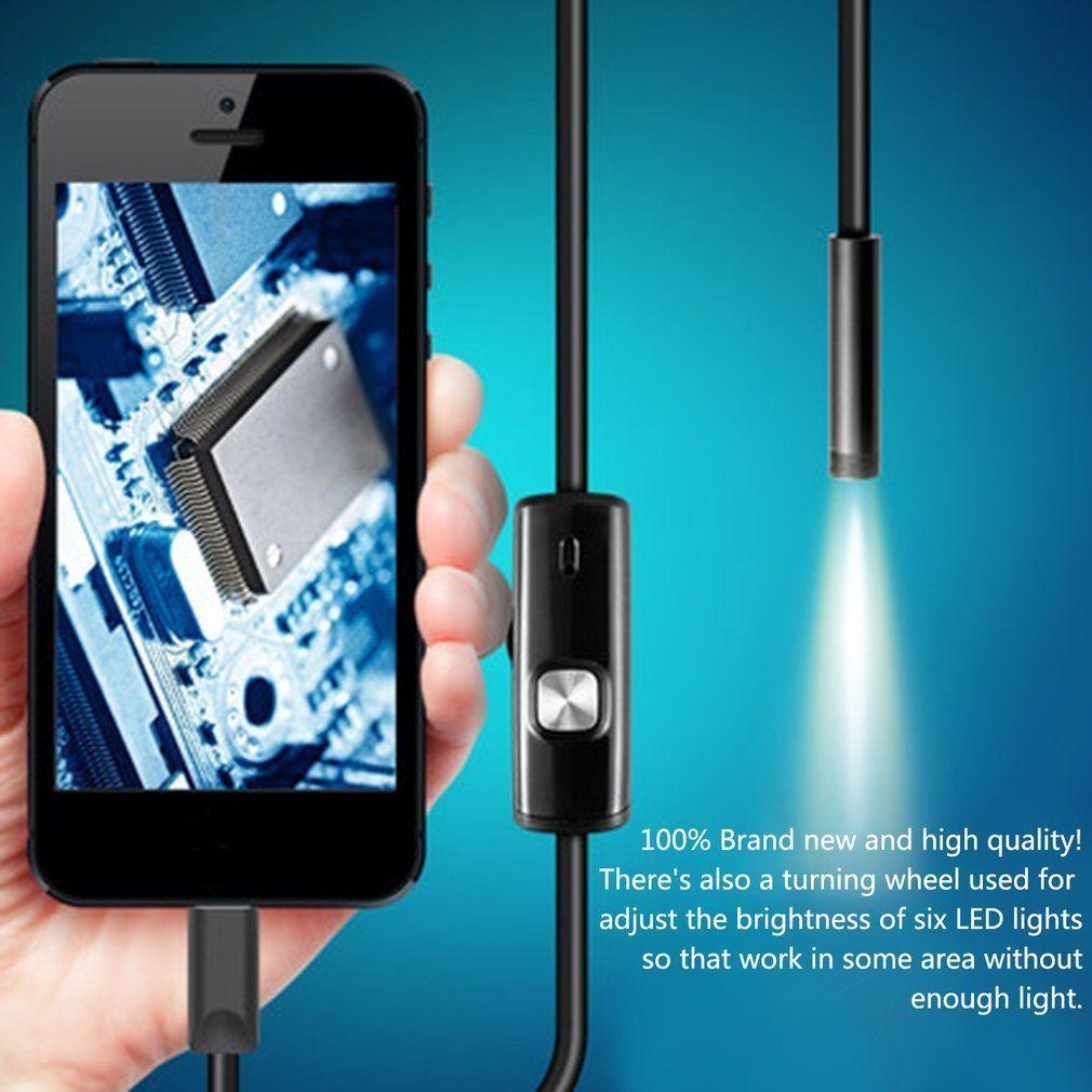 Schwarz 6 LEDs 1 Mt/7mm Objektiv Endoskop Wasserdichte Inspektion Endoskop Kamera für Android PC & Notebook gerät