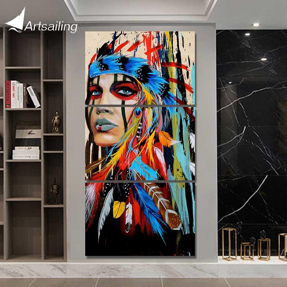 HD imprimé 3 pièces toile art peinture tribu plume guerrier décoration photos pour salon américain art Poster NY-5786