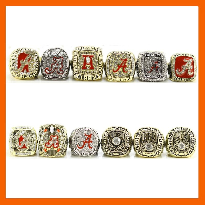2016 ALABAMA 12 RINGS COLLECTIONS CRIMSON TIDE NATIONAL CHAMPIONSHIP RING, 12 PCS RING SET COLLECTION