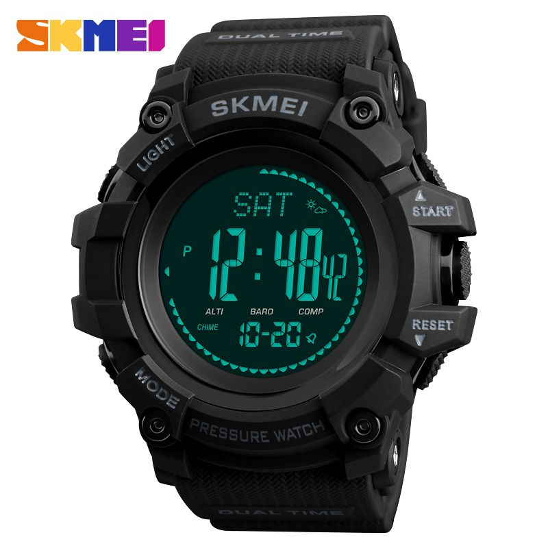 SKMEI Mens Sports Watches 24 Hours Pedometer Calories Digital Watch Altimeter Barometer Compass Thermometer Weather Men Watch