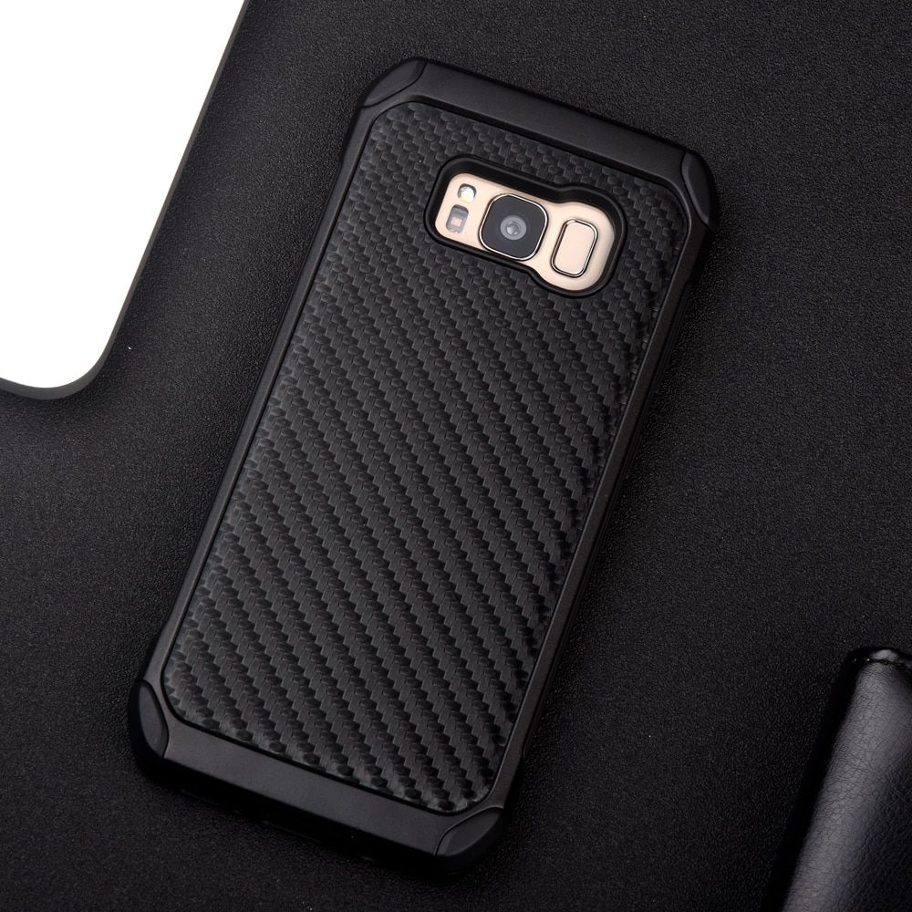 KEYSION Case for Samsung Galaxy S8 S8 Plus Carbon fiber texture PC+TPU 2 in1 Anti-knock Protective Back Cover for G950 G955