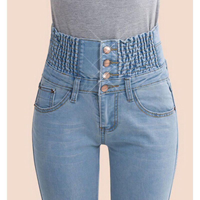 2017 Denim Pants Fashion Women Elastic High Waist Skinny Stretch Jean Female Spring Jeans Feet Pantalones mujer Plus Size