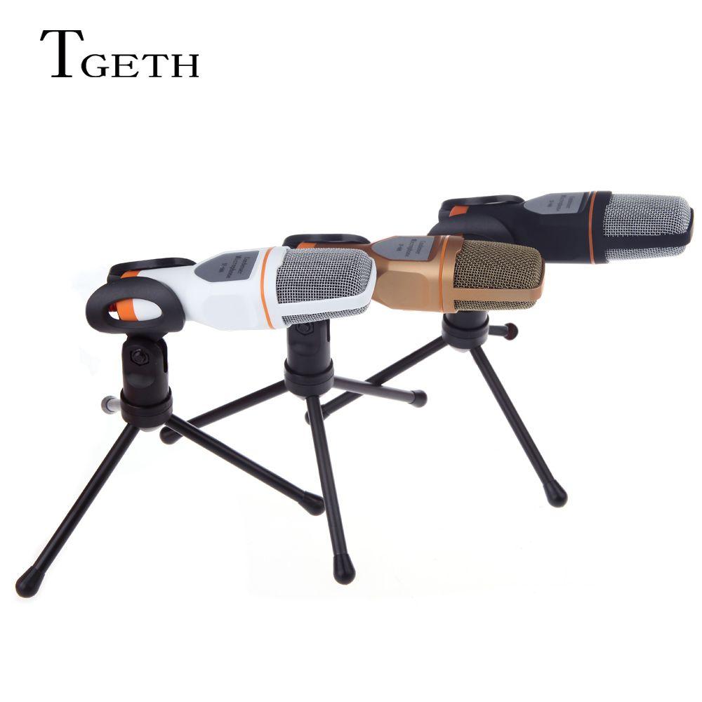 TGETH 3.5mm Audio Filaire Stéréo À Condensateur SF-666 Microphone Avec Support Stand Clip Pour PC le Chat de Chant Karaoké Ordinateur Portable