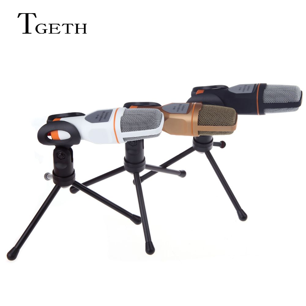 TGETH 3.5mm Audio Wired Stereo Condenser SF-666 Microphone With Holder Stand Clip For PC Chatting Singing Karaoke Laptop