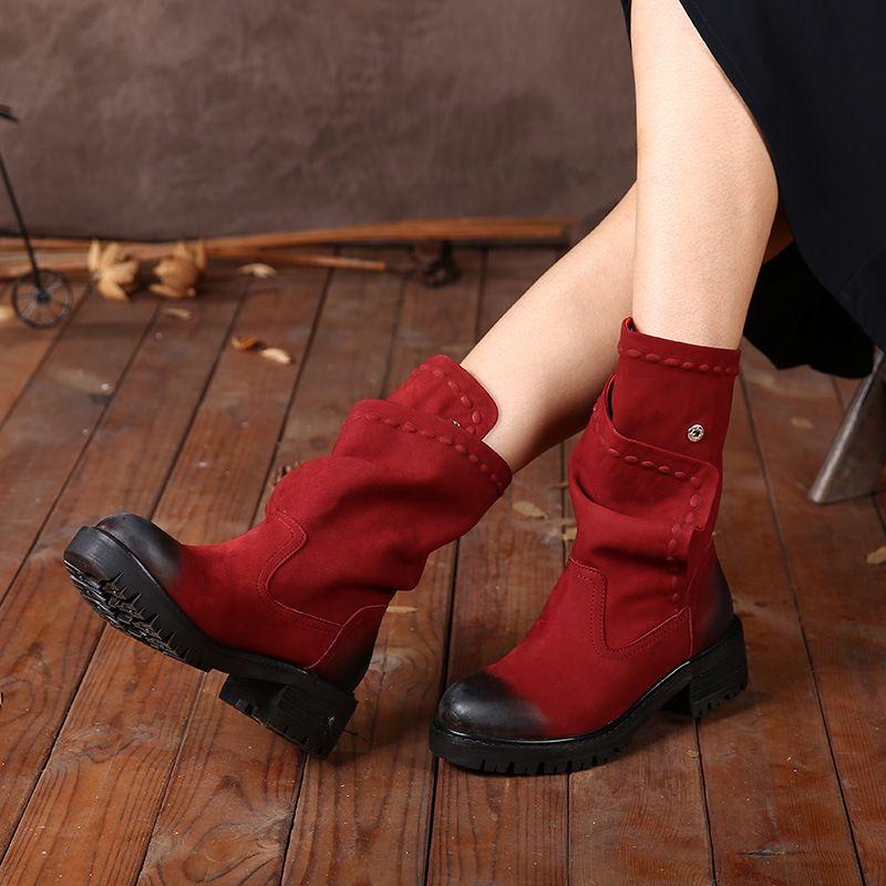 2018 automne hiver chaussures en cuir véritable femmes bottes bout rond talons bas bouton à la main femmes mi-mollet bottes