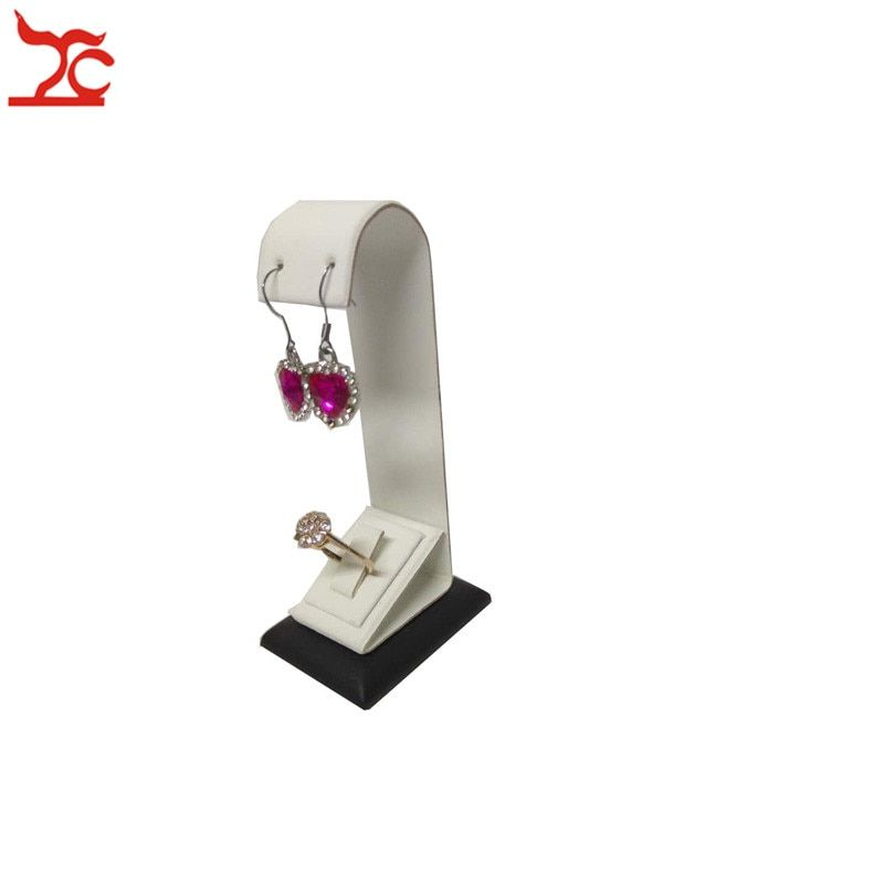 Customized White Black Ring Earring Set Jewelry Display Stand Rack