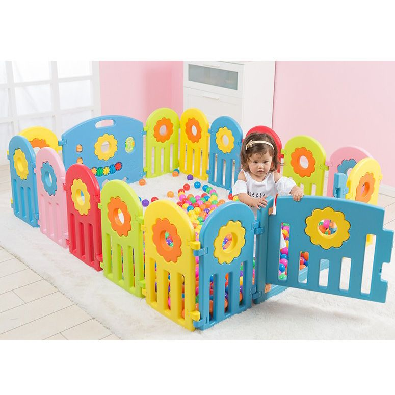 2018 New Design Sunflower Colorful Kids Baby Safe Play Fence Environmental Protection Space Baby Activity Game Fence Playpen