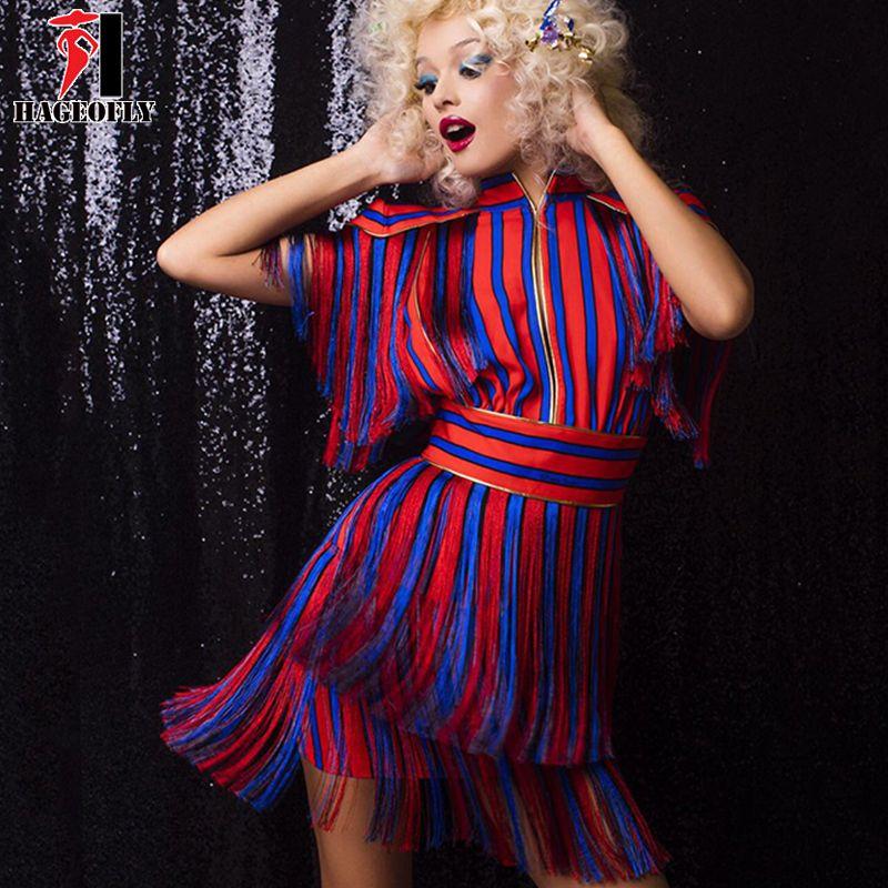 HAGEOFLY Short Sleeve Tassel Red Blue Striped Dress Runway Dress Summer Women Sexy Party Dresses 2017 New Arrival Vestido XL