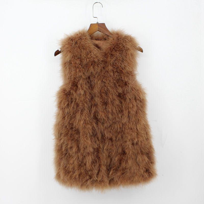2018 genuine ostrich fur vest for women middle long waistcoat female turkey fur gilet best price fashion lady spring autumn furs