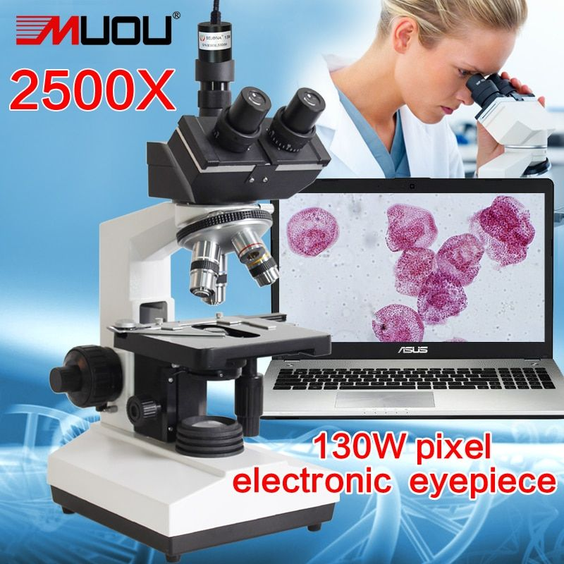 free shipping! Lab Compound Microscope--MUOU 2500X LED Lab Trinocular Microscope Metal student +1.3MP electronic eyepiece