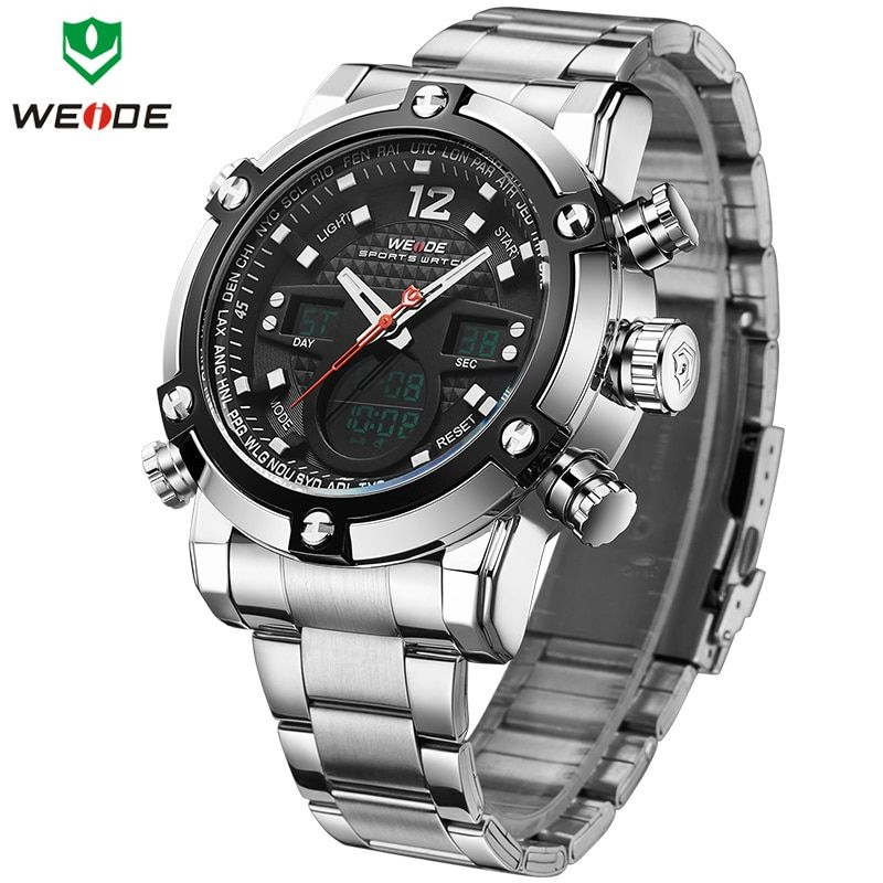 WEIDE Top Luxury Brand Quartz Watches Men LED Digital Clock Man Sports Military Stainless Steel Wrist Watch Relogio masculino