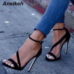 Aneikeh Nouvelle Conception À La Mode Sexy Femmes Ligne Style Boucle Mince Haute Talons Noir Faux Robe En Daim À Bout Ouvert Sandales 999-9