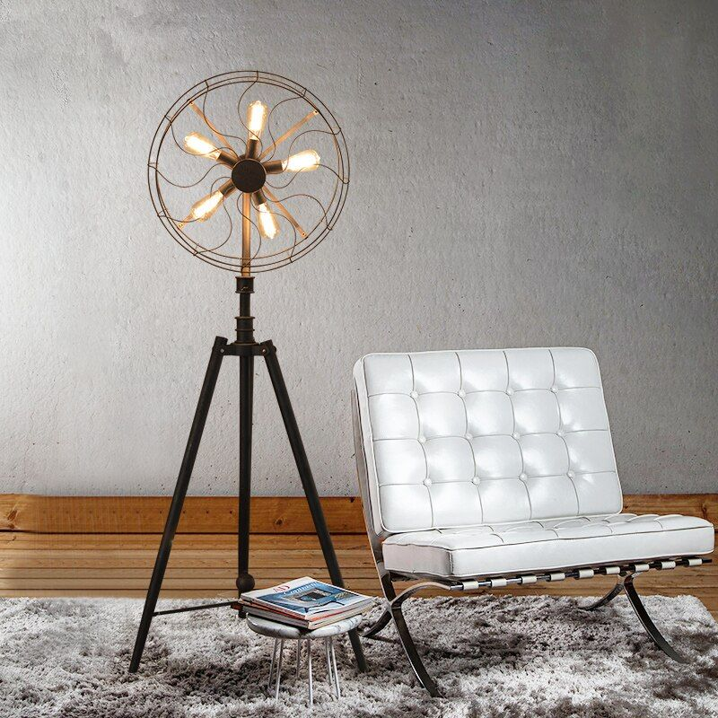 American Village Style Retro Industrial Wind Living Room Lamp Bedroom Light Creative Decorative Light Fan Style Floor Lamps