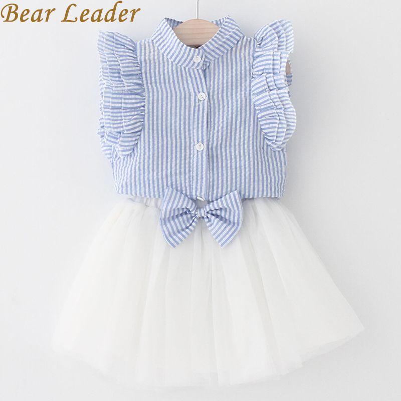 Bear Leader Girls Dress 2018 Summer Style Girls Clothing Sets Butterfly Sleeve Striped T-shirt+Bow Short Skirt 2Pcs Girls Suits