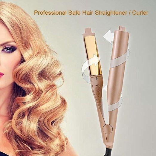 Hot Sale 2 in 1 Hair Straightening Pro Salon Hair Curling Curler Ceramic Roller Wave Machine Styler Iron hair curler auto