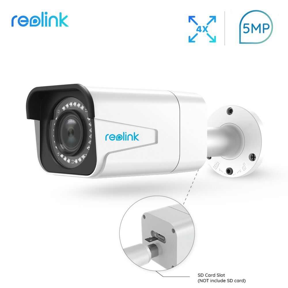 Reolink PoE IP Camera outdoor 5MP 4x Optical Zoom SD card slot IP66 Waterproof Infrared Bullet Security camera RLC-511