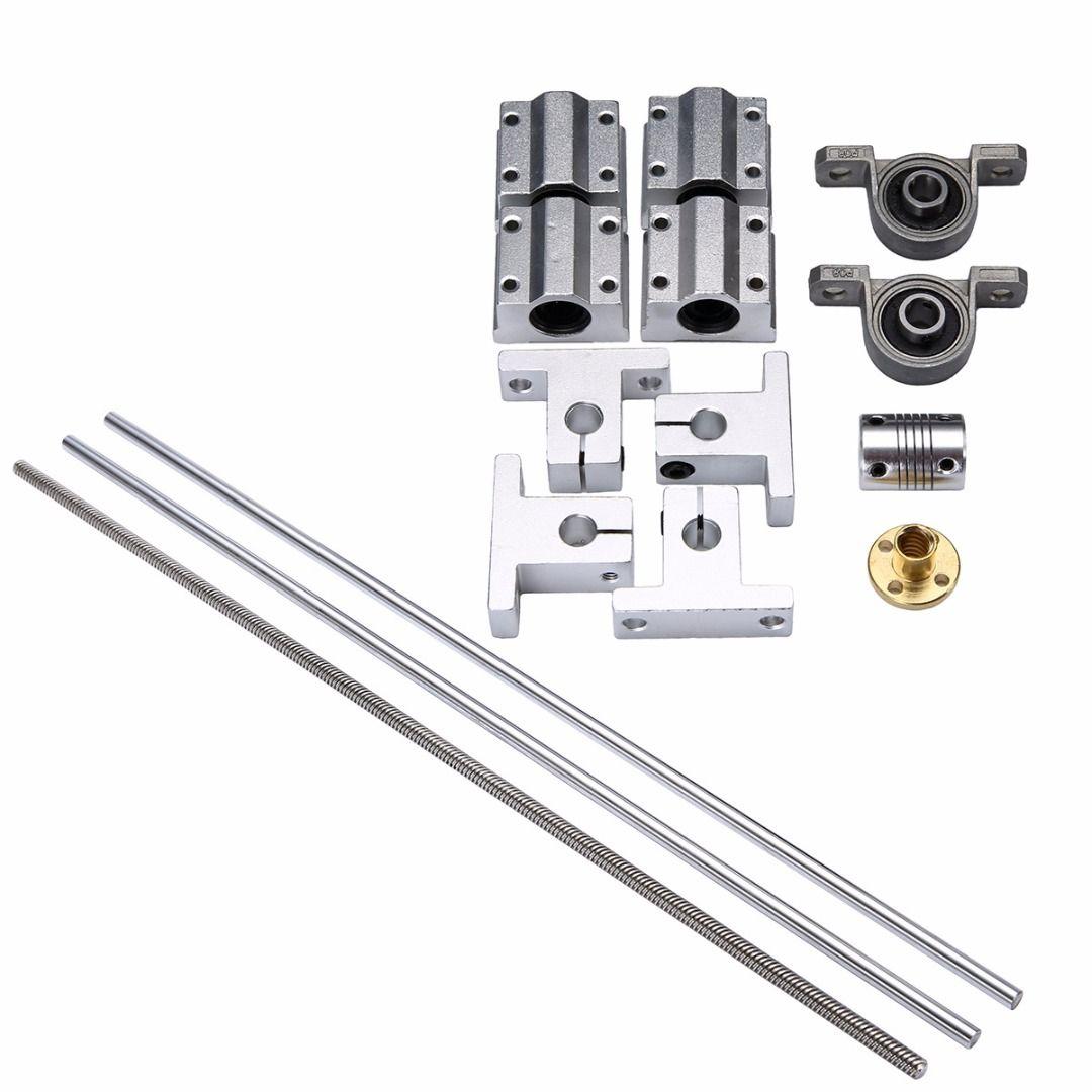 500*8mm T8 Linear Guide Rails Shaft Support Stainless Steel Screw Lead Nut Bearing Blocks Linear Slide Block Set Mayitr