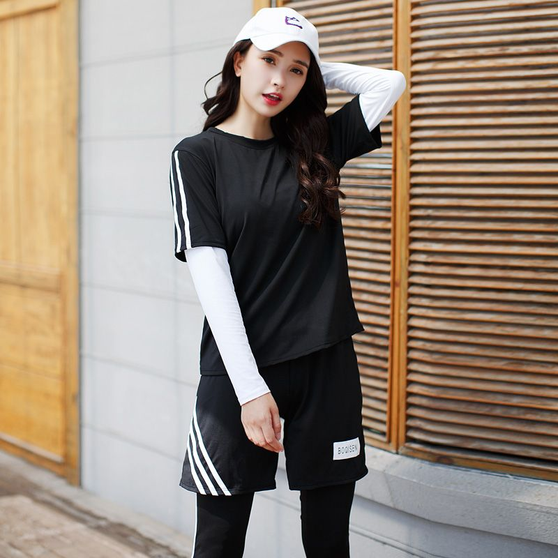 2018 New Women Yoga Set Sports Suit Long Sleeve Fitness Breathable Sport Bra Yoga T-Shirts Running Pants 4 Pieces Set Large Size