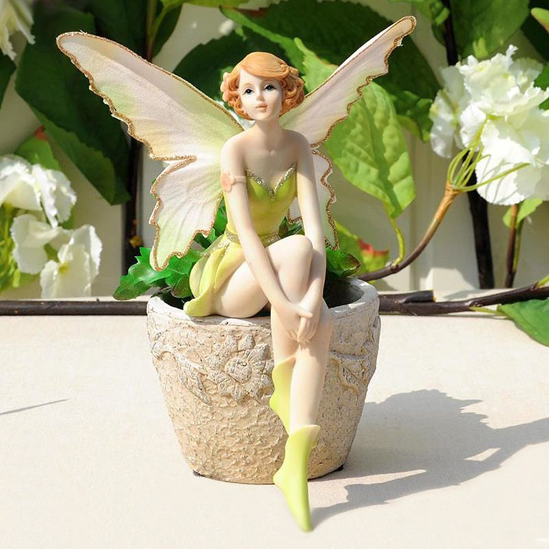 Q-glory Beautiful Girl Creative Gifts Resin Angel Ornaments Home Decor Miniature Flower Fairy Figurines Wedding decoration