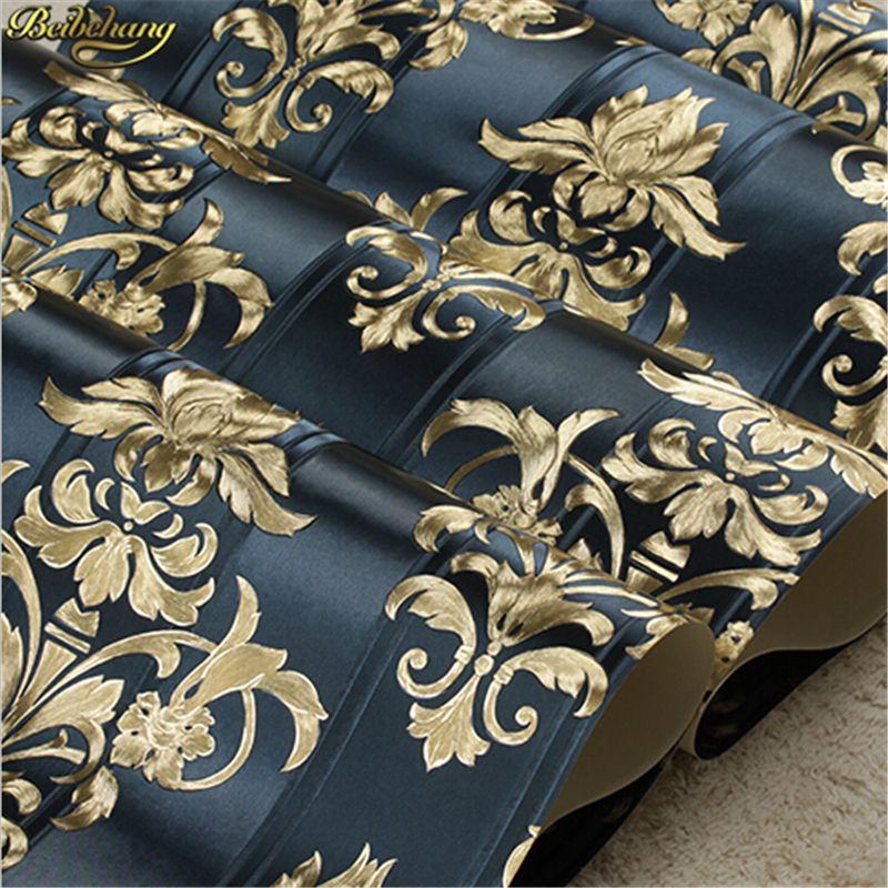 Beibehang Europäischen Goldfolie Goldenen Blume Leucht Tapete KTV Wohnzimmer Bar Gang Decken Dach Tapete papel de parede