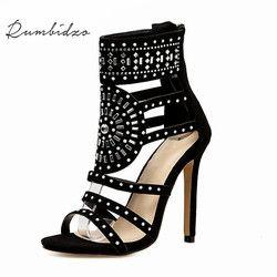 Rumbidzo Women Sandals 2018 Sping Summer Peep Toe High Heels Hollow Gladiator Sandalias Rhinestone Crystal Shoes Woman