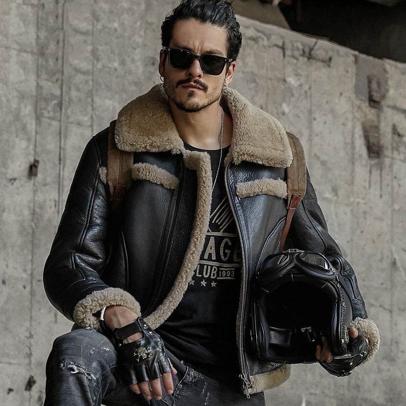 Mens Fur Coat B3 Sheepskin Outwear Mens Shearling Coat Men Aviator Jacket Pilot Jacket