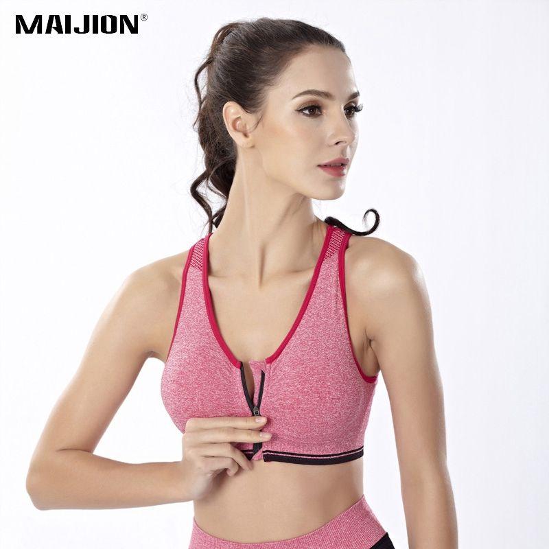 MAIJION Reißverschluss Stoßfest Laufweste für Frauen, Gym Fitness Gepolsterte Sport Bras Nahtlose Crop Top Tank Yoga Weste