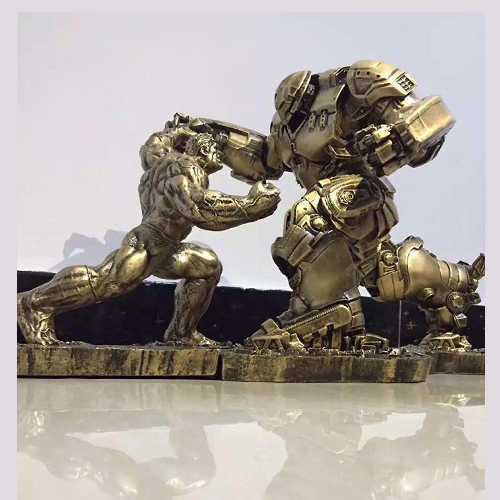 Limited Quantity 2pcs /Set Hulk VS iron man MK44 Statue Finish Painting Resin Staue Action Figure H34CM