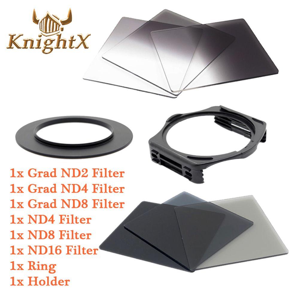 KnightX ND Grad Kit de filtre pour Cokin P support de filtre carré pour Canon Nikon D7100 D5200 D3300 52mm 58mm 67mm 72 77 82 couleur DSLR
