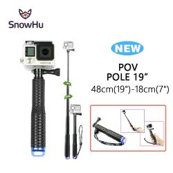 SnowHu for GoPro 6 5 Aluminum Extendable Pole Selfie Stick Monopod Tripod Mount for GoPro Hero 6 5 4 3+ for Xiaomi for Yi GP180
