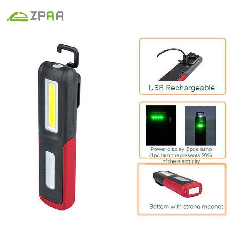 2017 Portable COB LED Flashlight Magnetic Work Light USB Rechargeable Lantern Power display Hanging Torch Lamp Night Lighting