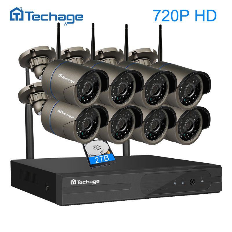 Techage 8CH Wireless NVR Kit Wifi CCTV System 720P 1.0MP Outdoor Waterproof 8PCS IP Camera P2P Video Security Surveillance Set